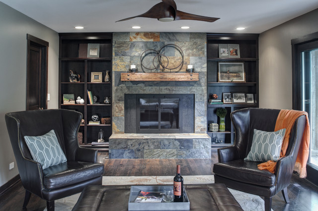 fireplace slate. Transitional dark wood floor family room photo in Chicago with gray walls  a standard fireplace Slate Tile Fireplace Houzz