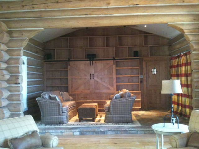 Rustic Entertainment Center Eclectic Family Room