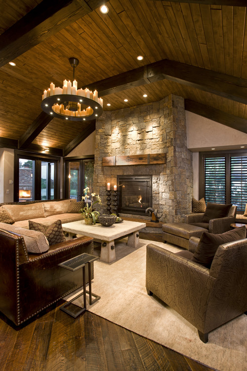 Rustic Family Room transitional family room