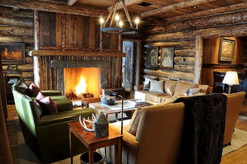 Stone Slab Fireplace