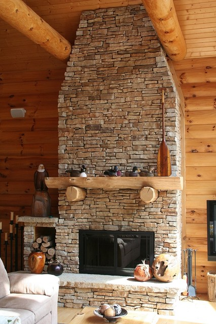 Stratified Limestone Fireplace Rustic Family Room