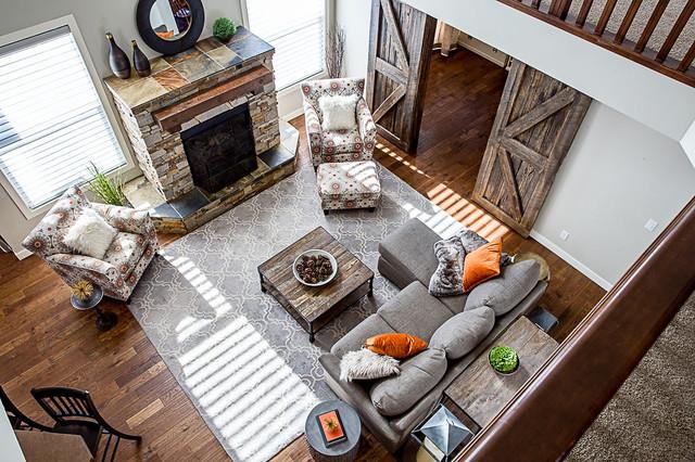 Family room - mid-sized rustic family room idea in Calgary