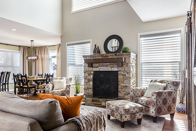 Inspiration for a mid-sized rustic family room remodel in Calgary