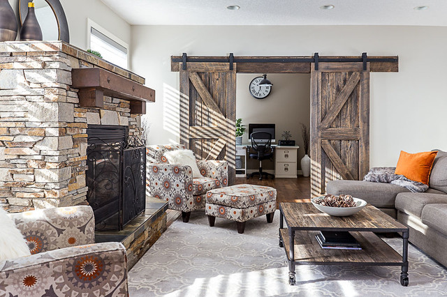 Mid-sized mountain style family room photo in Calgary