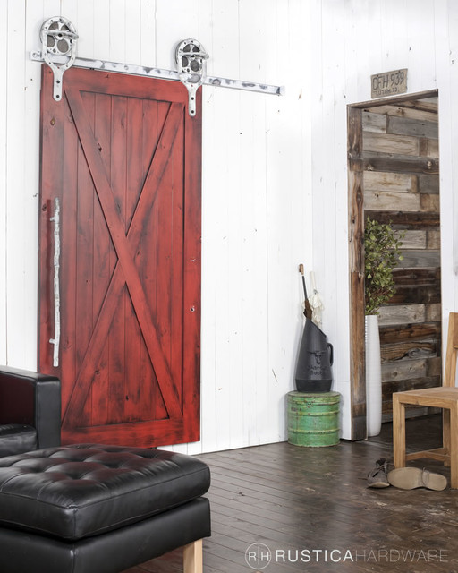 Full X Barn Doors Rustic Family Room Salt Lake City By