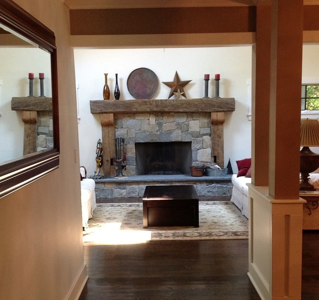 Superb Rustic Fireplace Mantels Rustic Family Room New York Home Interior And Landscaping Ologienasavecom