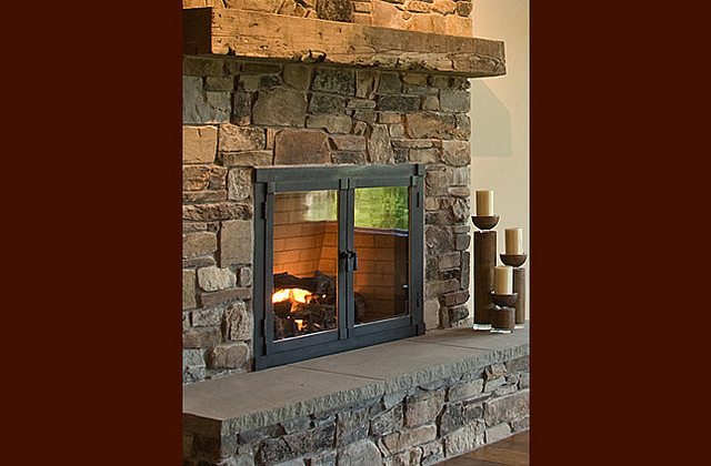 Rustic Fireplace Eclectic Family Room Other Metro