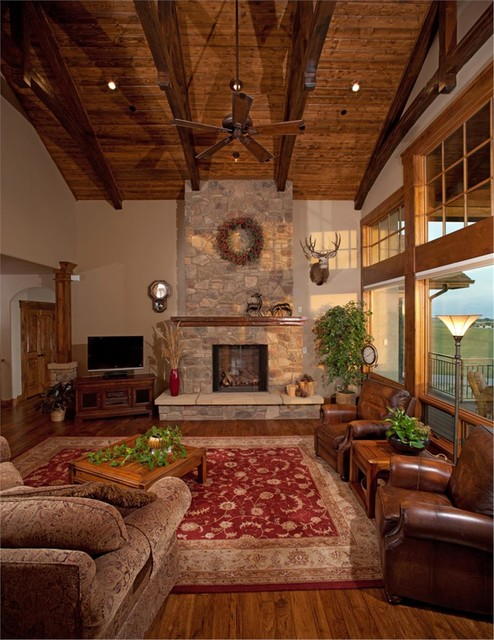 Rustic Great Room Rustic Family Room By The Plan Collection