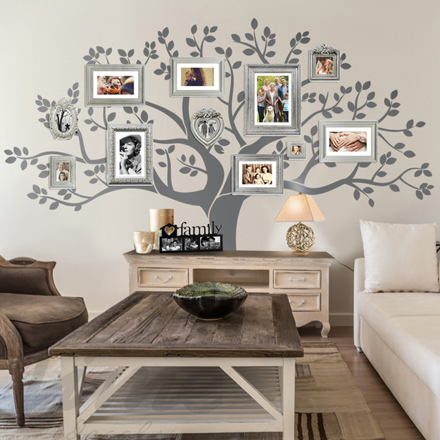 Rustic living room family tree wall decor rustic family room other by limedecals - Decorated walls living rooms ...