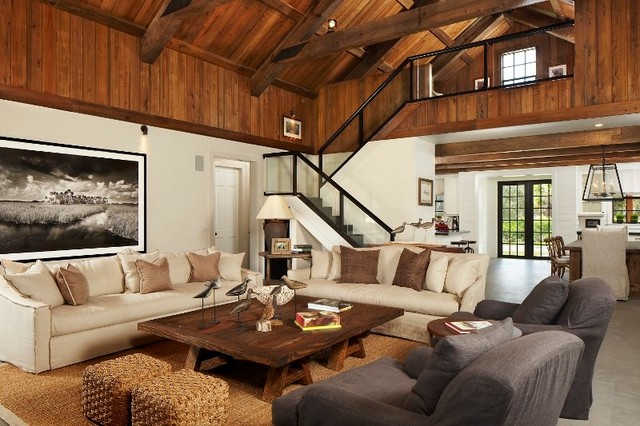 Mountain Style Family Room Photo In Atlanta