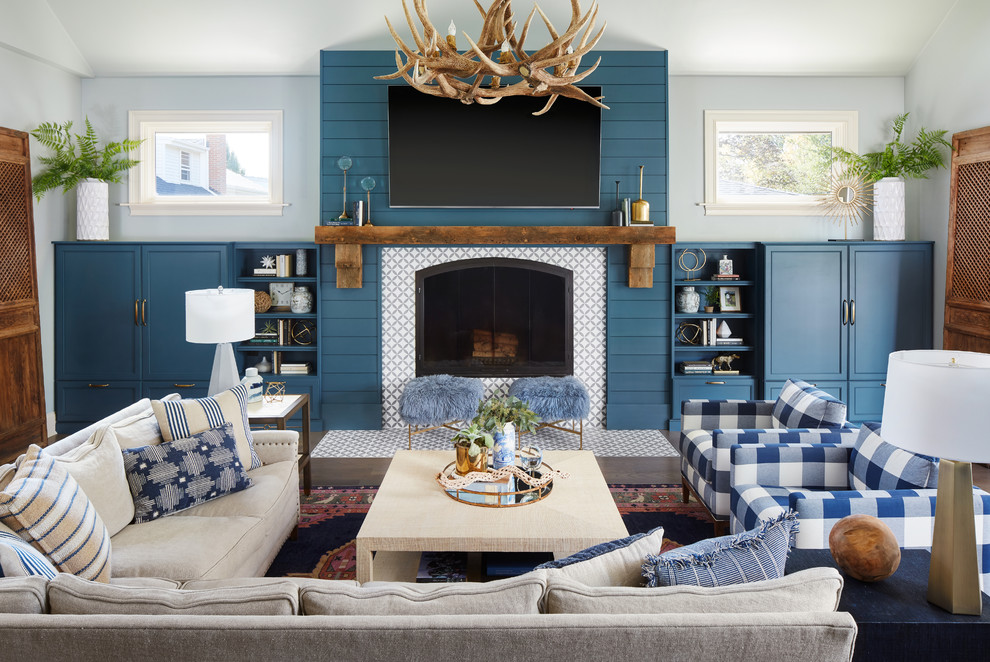 Rustic Modern Family Room Transitional Family Room Chicago By Peppeard Design