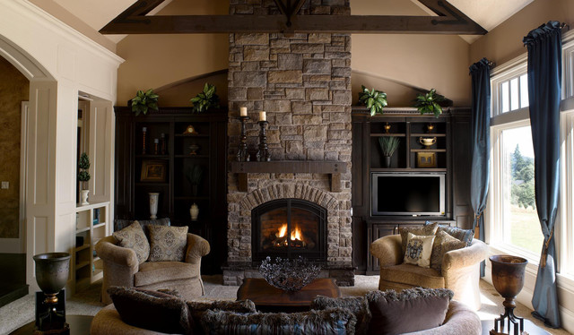 Stacked Stone Fireplace 3
