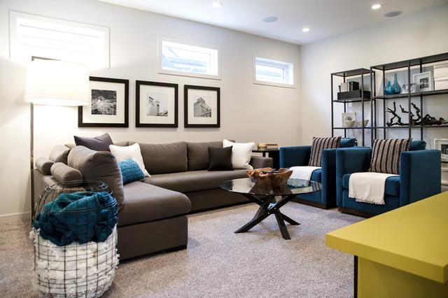 Rustic urban city contemporary family room calgary for Urban interior designs