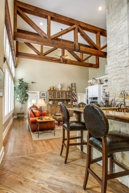 Rustic Wood Ceiling Beams Traditional Family Room