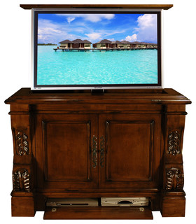 sabre tv lift cabinet us made tv lift furniture by cabinet tronix traditional family room. Black Bedroom Furniture Sets. Home Design Ideas
