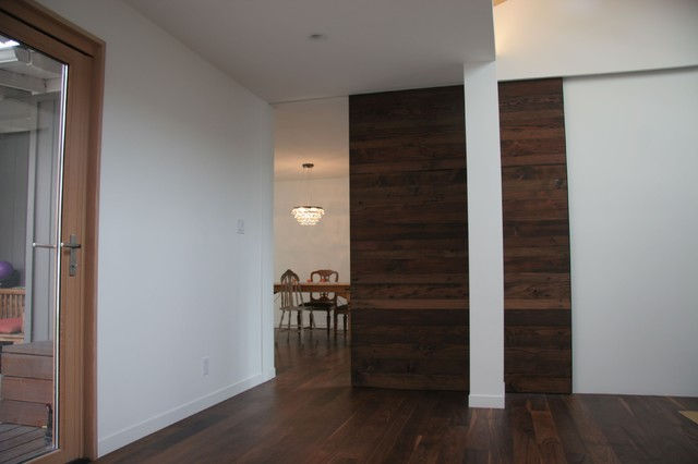 Salvaged Wood Pocket Door Modern Family Room San