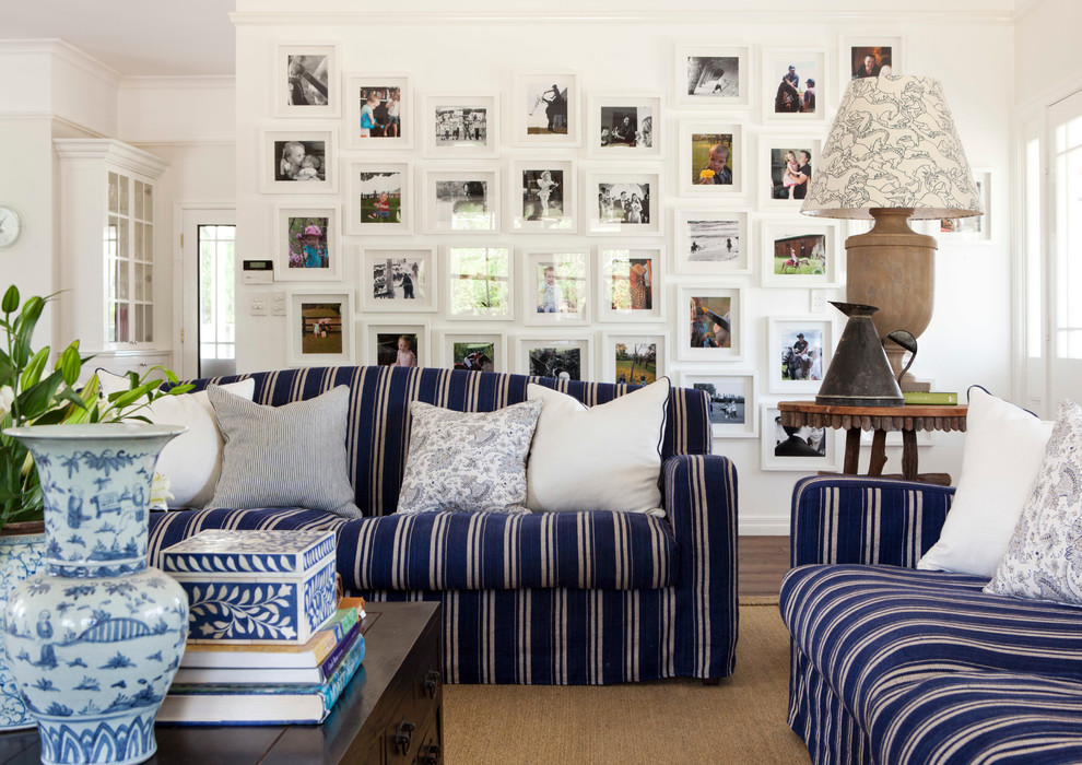 Family room - traditional family room idea in Brisbane with white walls