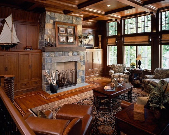 Saratoga Lake House traditional family room