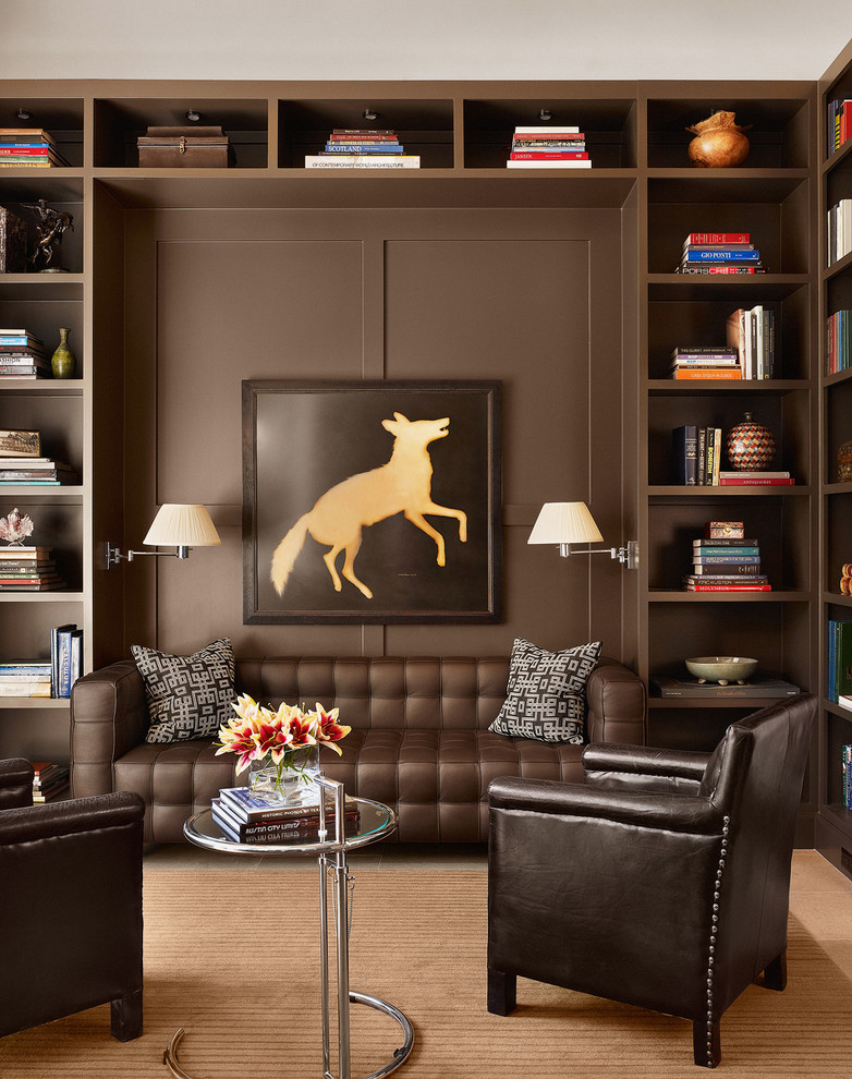 Example of a trendy family room library design in Austin with brown walls