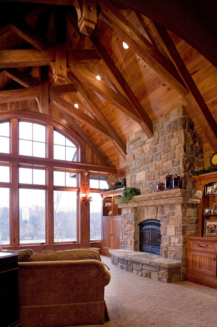 Schmidt Lake Stone Lodge traditional-family-room