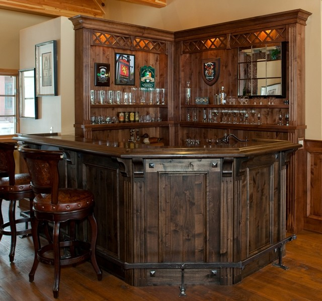 Top 40 Best Home Bar Designs And Ideas For Men: Scottish Pub Bar