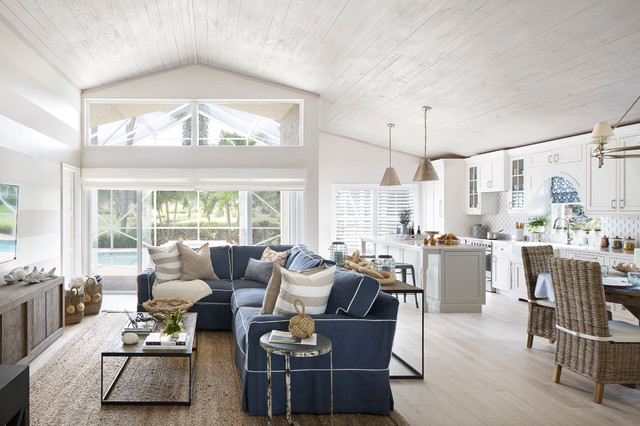 Seaside Cottage Beach Style Family Room Miami By