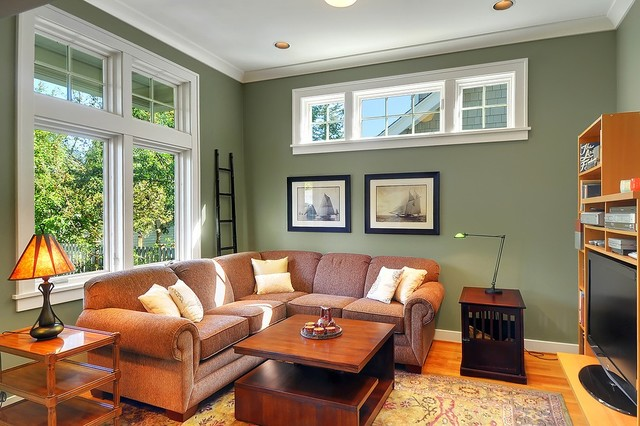Exceptional Arts And Crafts Family Room Photo In Seattle With Green Walls, Medium Tone  Wood Floors Pictures
