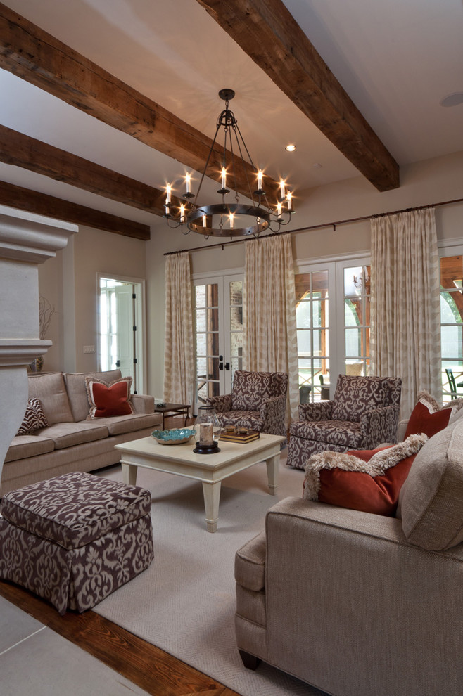 Family room - traditional dark wood floor family room idea in Other with beige walls