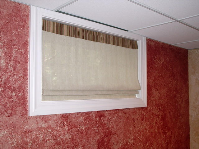 sheer shades for basement windows traditional family room