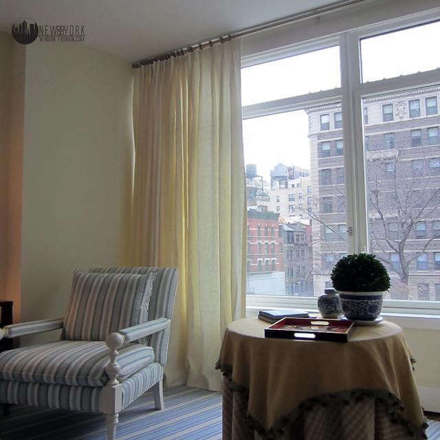 Sheer window panel traditional-family-room