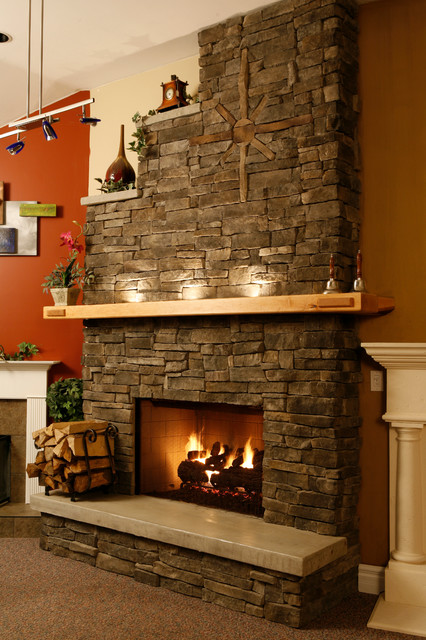 Shelf Mantel On A Dry Stack Stone Wall Contemporary