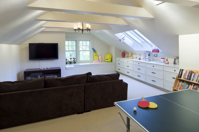 Shingle Style Attic Play Area contemporary media room