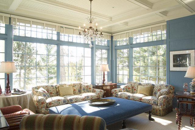 Shingle-Style Lake Home traditional family room