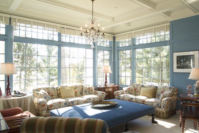 Shingle-Style Lake Home traditional-family-room