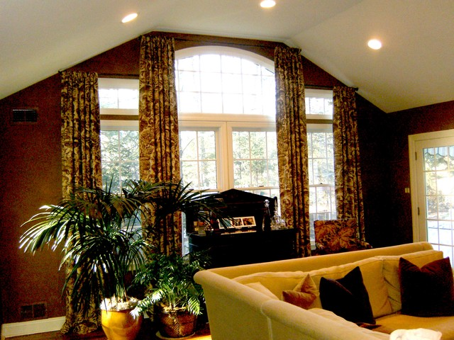 Shirred Drapery Panels for Jody MacWright Interiors Short Hills NJ eclectic-family-room