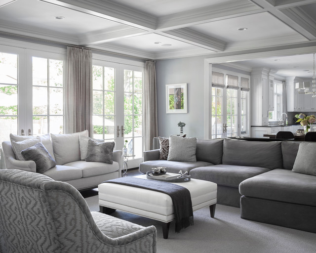 Gray And White Transitional Rustic Living Room With: Short Hills Estate