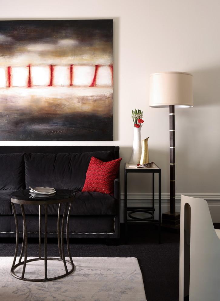 Family room - contemporary family room idea in Atlanta with white walls