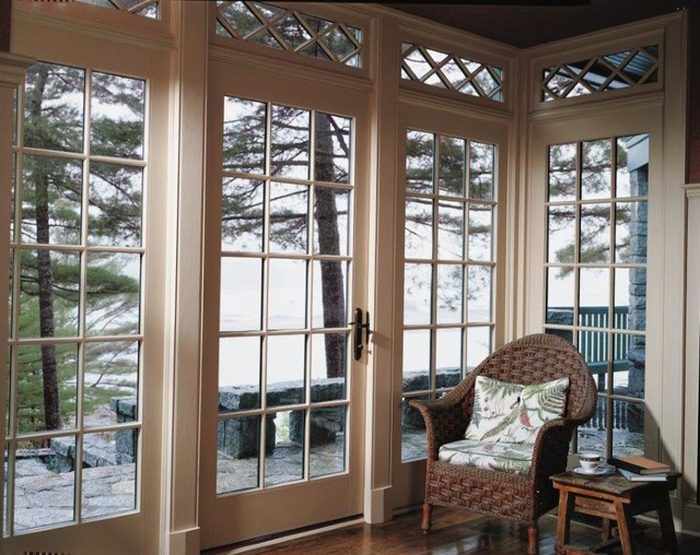 Single French Wood Door Traditional Family Room San