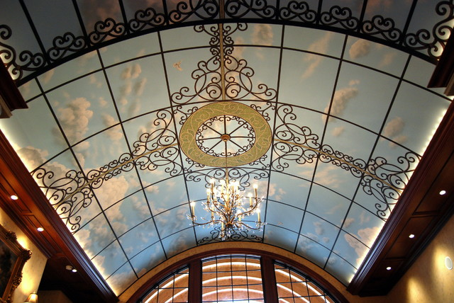 Sky ceiling mural in a great room by tom taylor of wow for Ceiling sky mural
