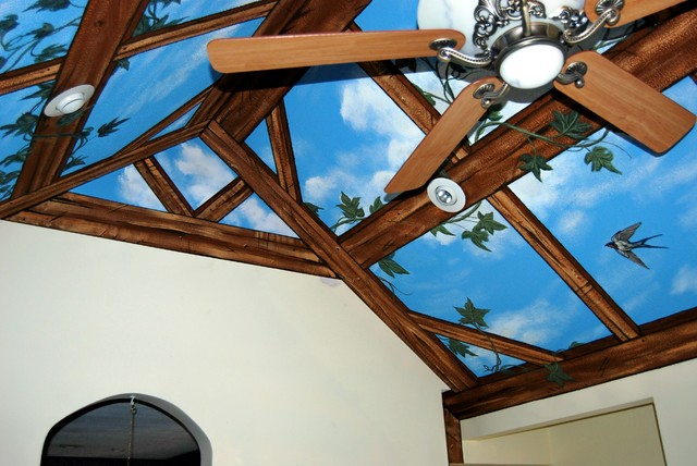 Sky Ceiling with Wood Beams Mural by Tom Taylor of Wow Effects, in Maryland contemporary
