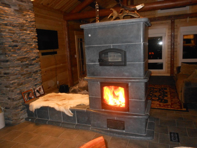 Soapstone Masonry Fireplace Rustic Family Room