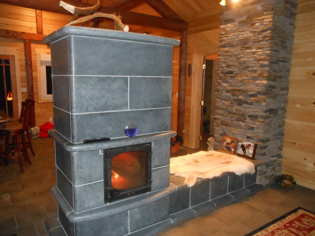 Soapstone Masonry Fireplace Rustic Family Room Other