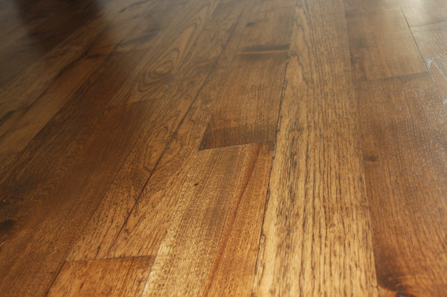 Solid Hickory Floors Transitional Family Room Other