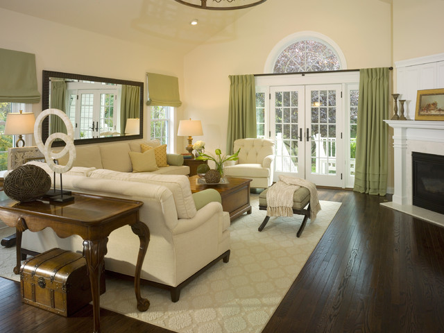 Sophisticated and peaceful family room transitional for Peaceful living room ideas