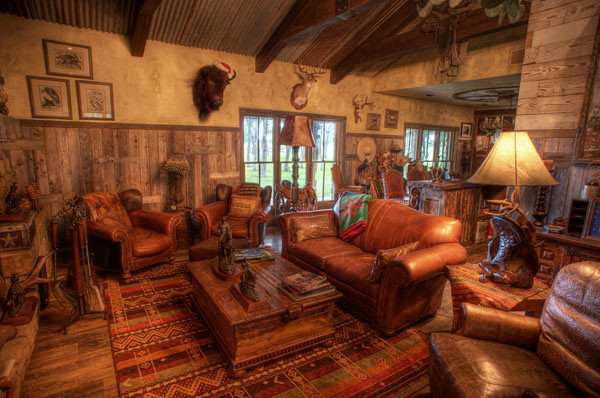South Texas Ranch Rustic Family Room