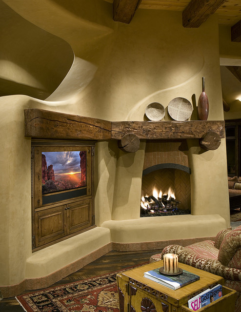 Southwestern family room for Southwestern fireplaces