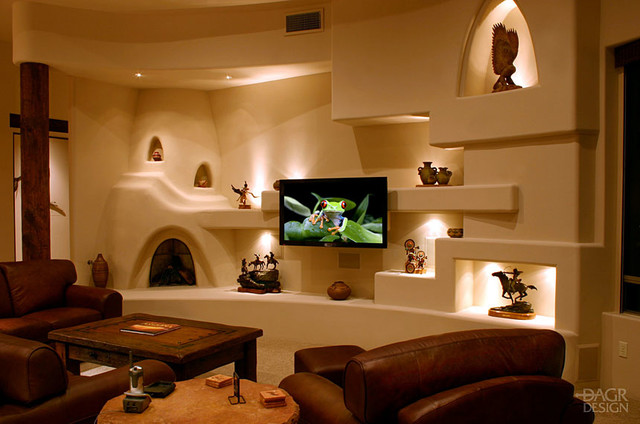 southwest style southwestern family room phoenix by dagr design custom home theater. Black Bedroom Furniture Sets. Home Design Ideas