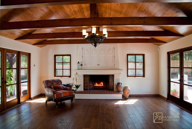 Spanish Revival Home - farmhouse - family room - santa barbara