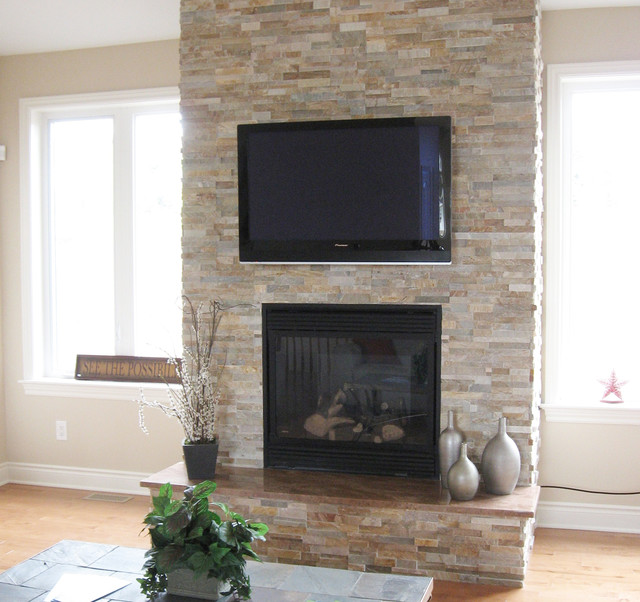 Split Stone Fireplace With TV Modern Family Room