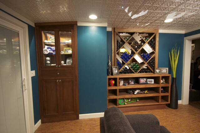 Sports Memorabilia Cabinet With Led Lighting Family Room